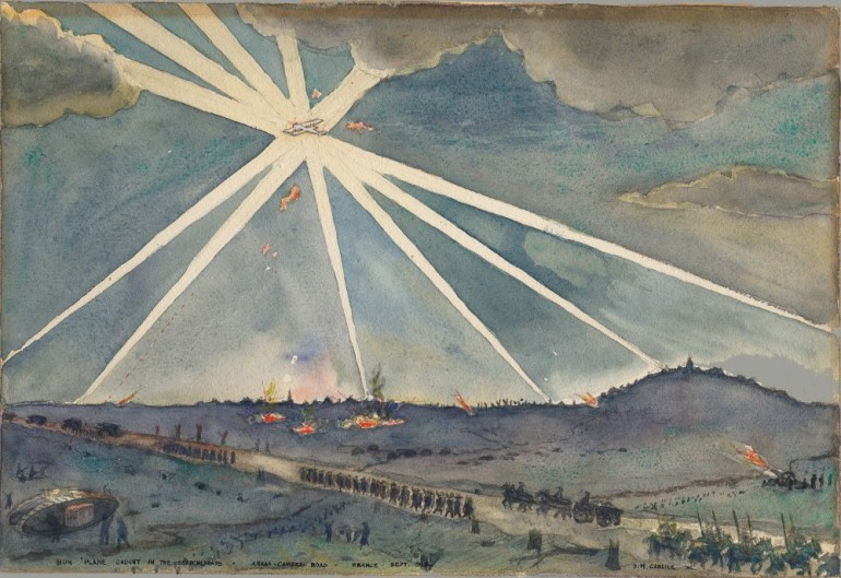 Hun Plane Caught in Searchlights - Arras-Cambrai Road - France - Sept 1918, David M Carlile
